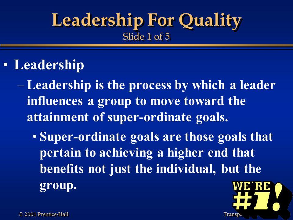 Leadership For Quality Slide 1 of 5