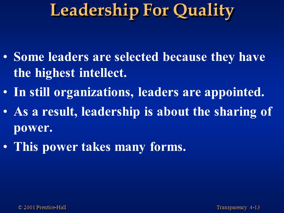 Leadership For Quality