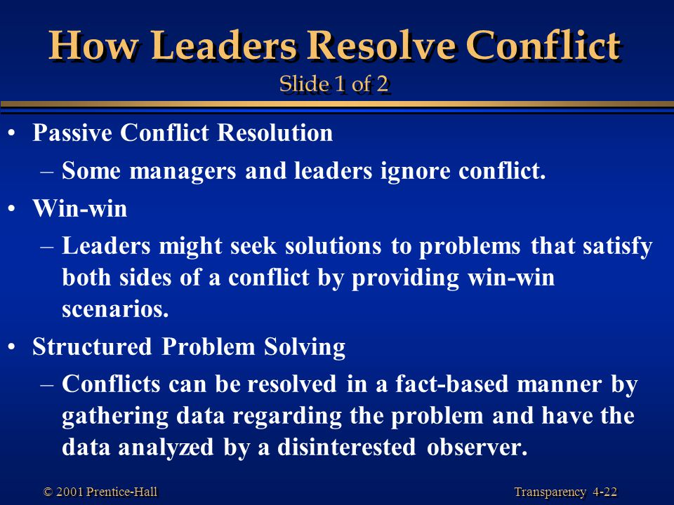 How Leaders Resolve Conflict Slide 1 of 2