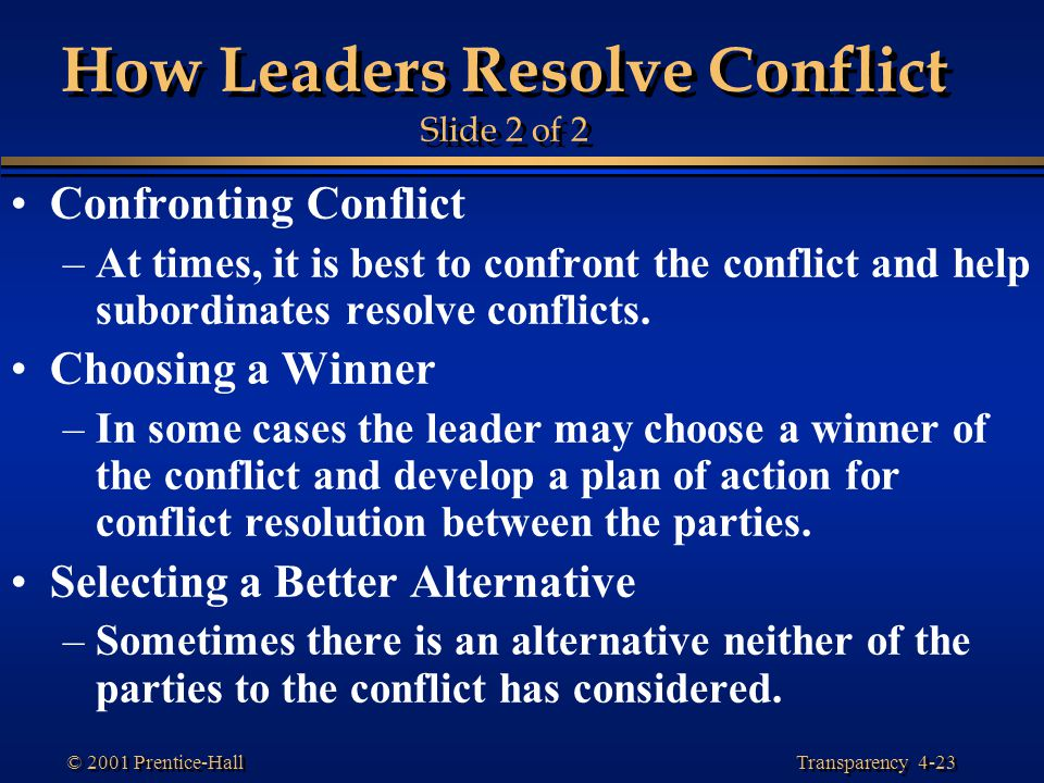 How Leaders Resolve Conflict Slide 2 of 2