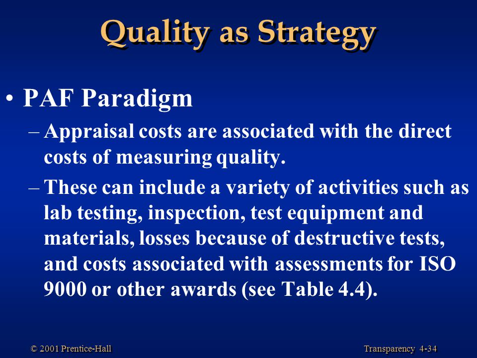 Quality as Strategy PAF Paradigm