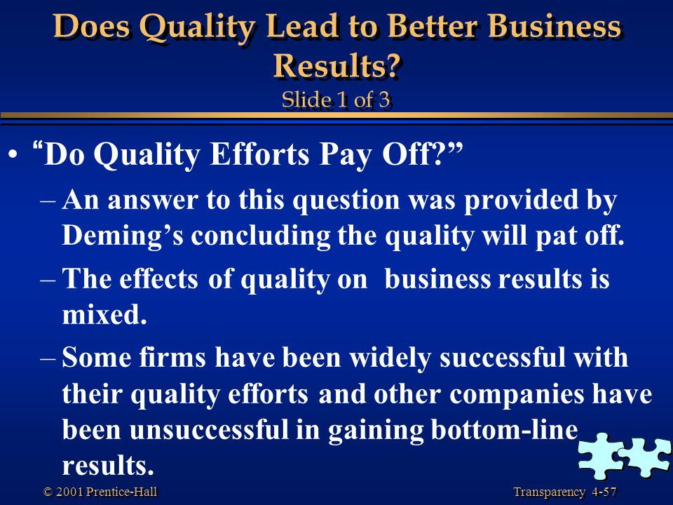Does Quality Lead to Better Business Results Slide 1 of 3