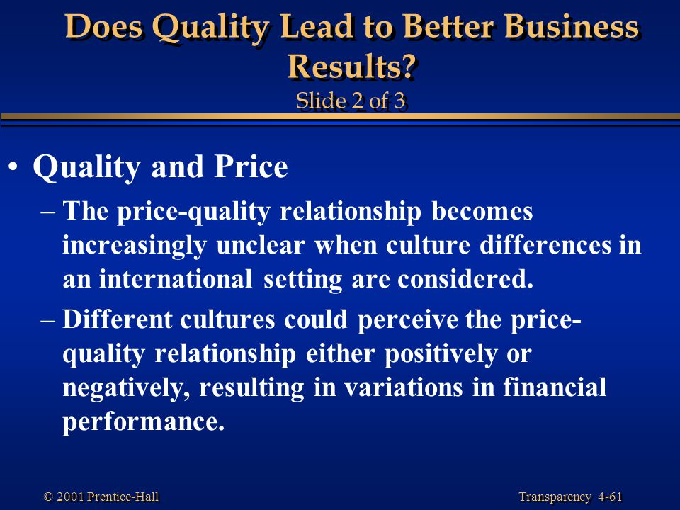 Does Quality Lead to Better Business Results Slide 2 of 3