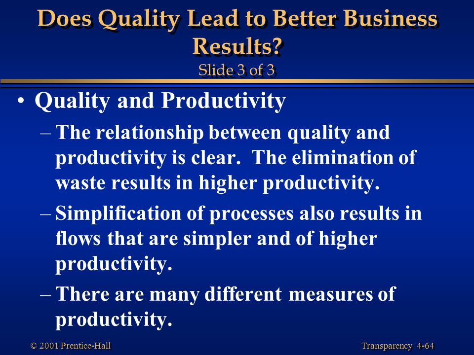 Does Quality Lead to Better Business Results Slide 3 of 3