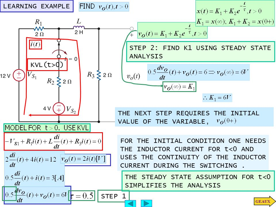 LEARNING EXAMPLE KVL(t>0) STEP 2: FIND K1 USING STEADY STATE. ANALYSIS. THE NEXT STEP REQUIRES THE INITIAL.