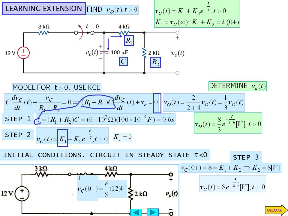 LEARNING EXTENSION STEP 1 STEP 2 INITIAL CONDITIONS. CIRCUIT IN STEADY STATE t<0 STEP 3
