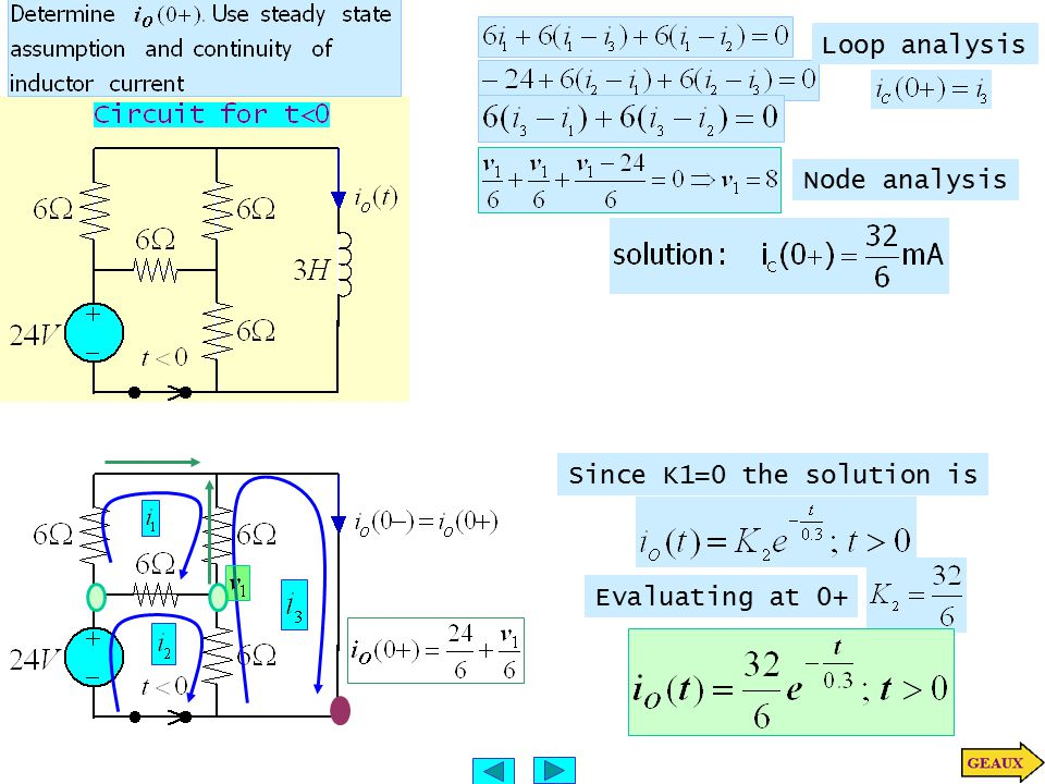 Loop analysis Node analysis Since K1=0 the solution is Evaluating at 0+
