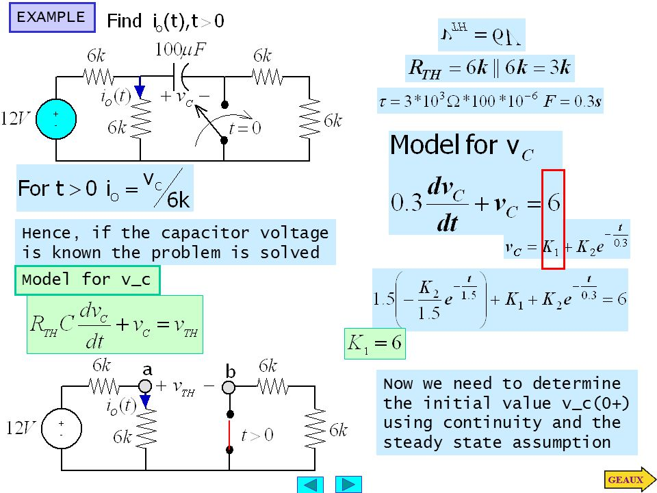EXAMPLE Hence, if the capacitor voltage. is known the problem is solved. Model for v_c. Now we need to determine.