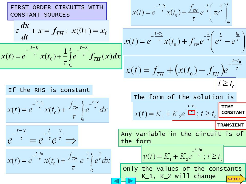 FIRST ORDER CIRCUITS WITH CONSTANT SOURCES