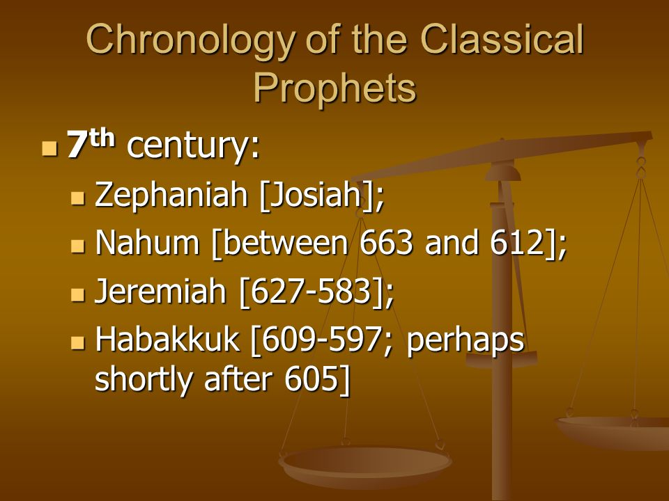 Chronology of the Classical Prophets