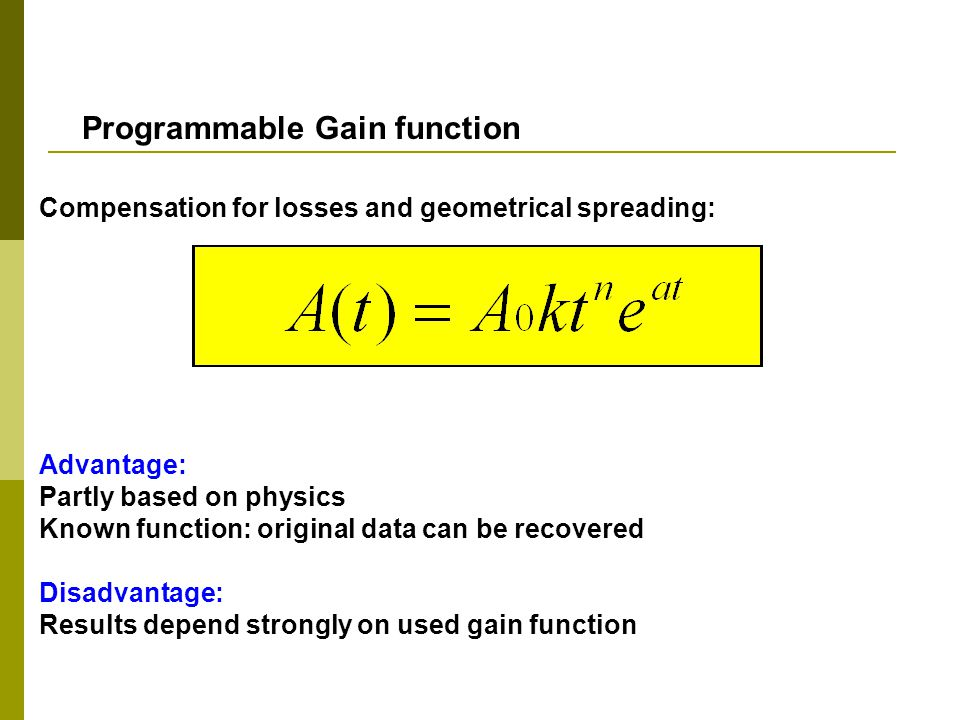 Programmable Gain function