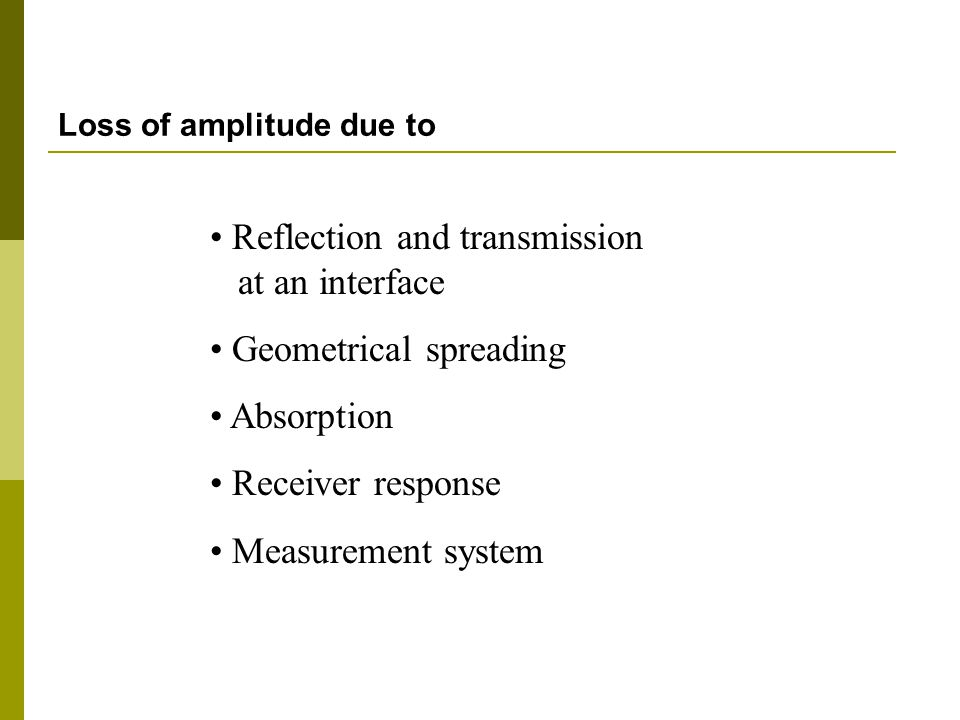 Loss of amplitude due to