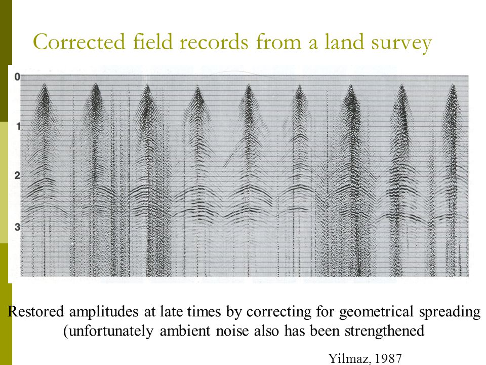Corrected field records from a land survey