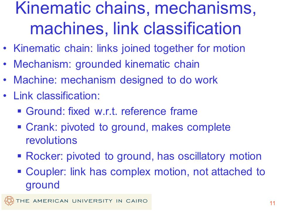 Kinematic chains, mechanisms, machines, link classification