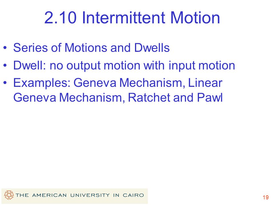 2.10 Intermittent Motion Series of Motions and Dwells