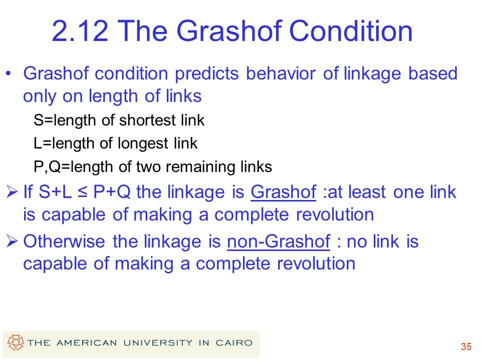 2.12 The Grashof Condition Grashof condition predicts behavior of linkage based only on length of links.
