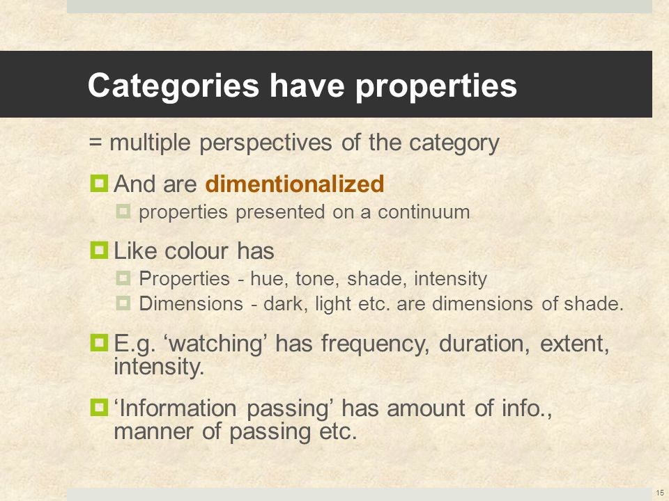 Categories have properties