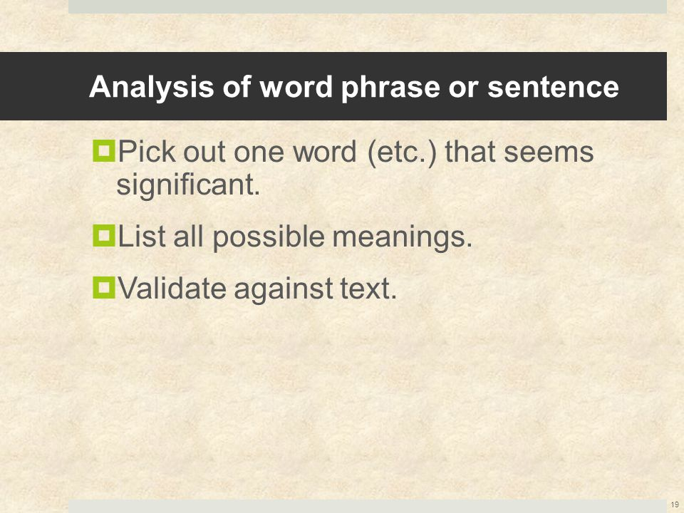 Analysis of word phrase or sentence