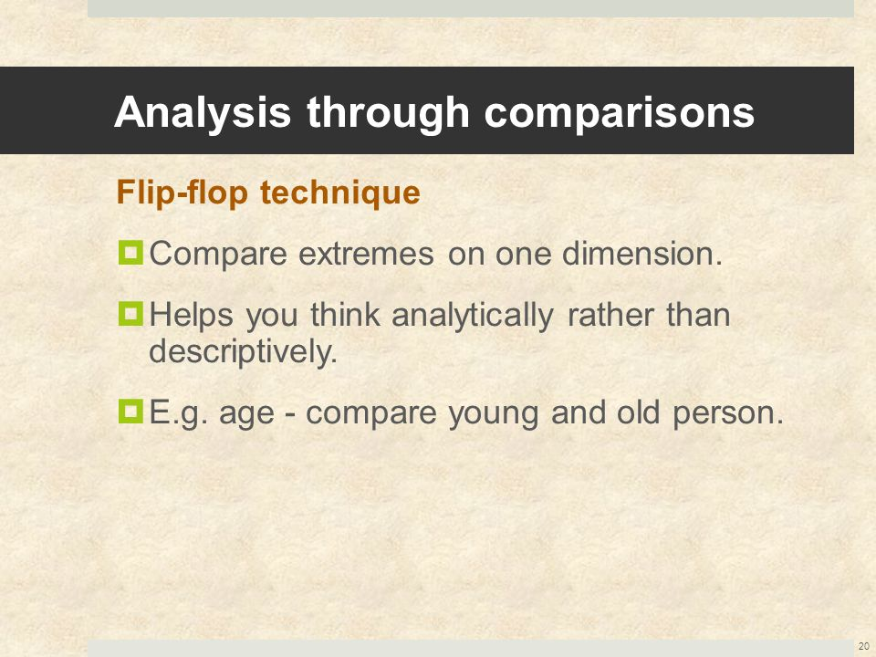 Analysis through comparisons