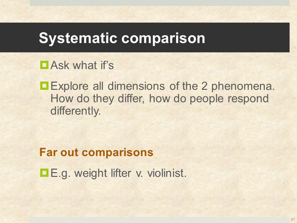 Systematic comparison
