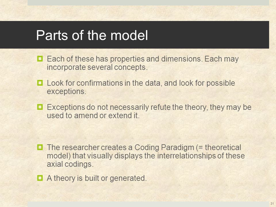Parts of the model Each of these has properties and dimensions. Each may incorporate several concepts.
