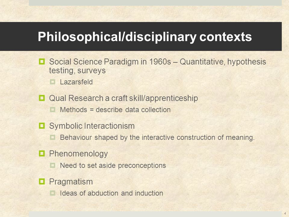 Philosophical/disciplinary contexts