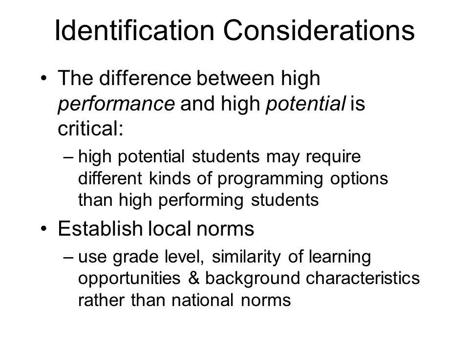 Identification Considerations