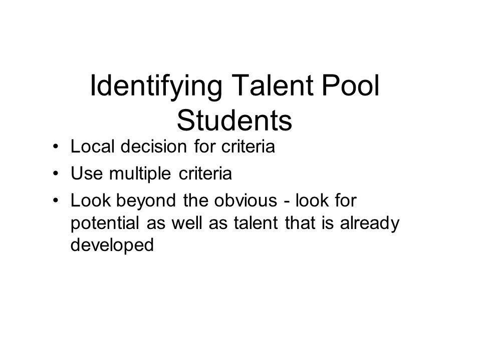 Identifying Talent Pool Students