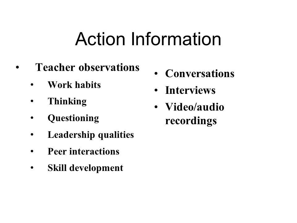 Action Information Teacher observations Conversations Interviews