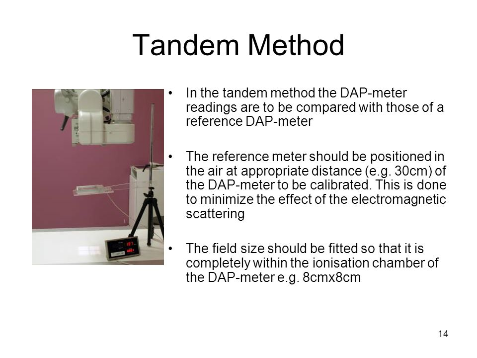 Tandem Method In the tandem method the DAP-meter readings are to be compared with those of a reference DAP-meter.