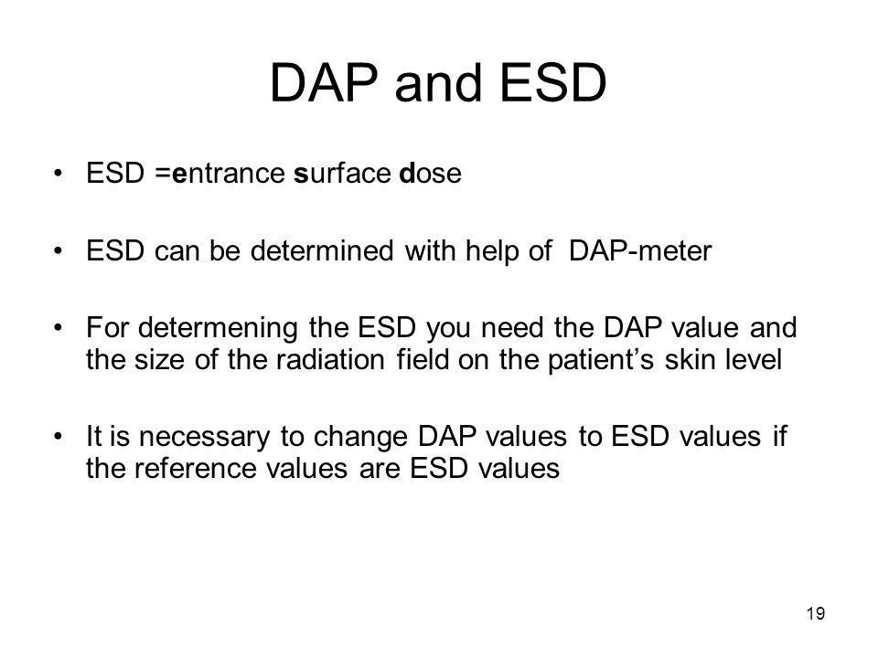 DAP and ESD ESD =entrance surface dose