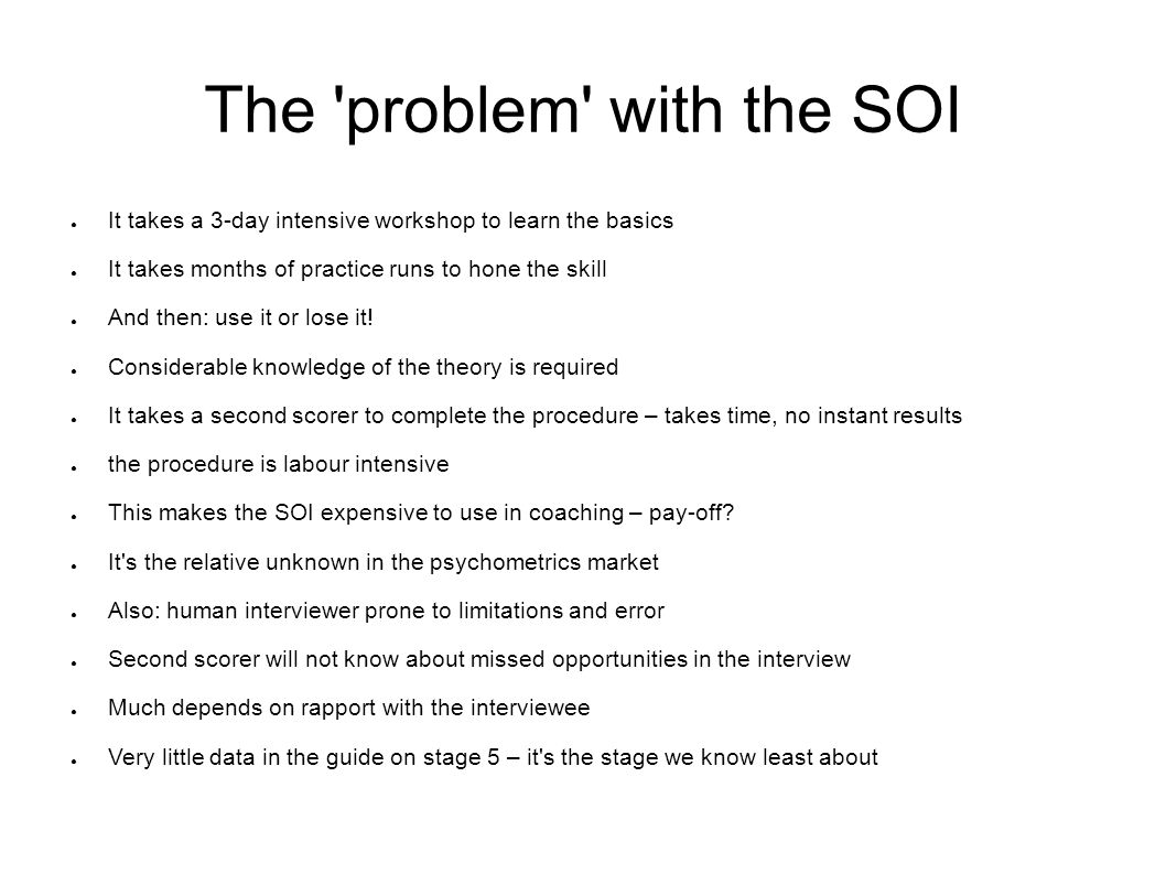 The problem with the SOI