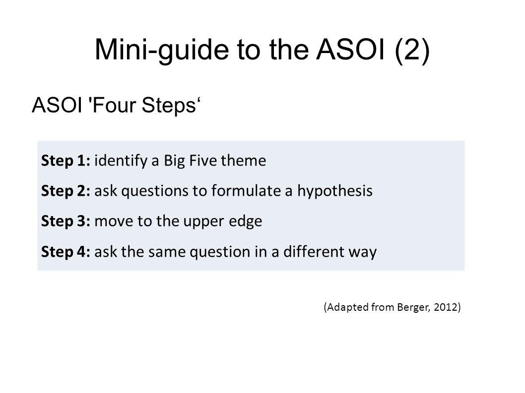 Mini-guide to the ASOI (2)