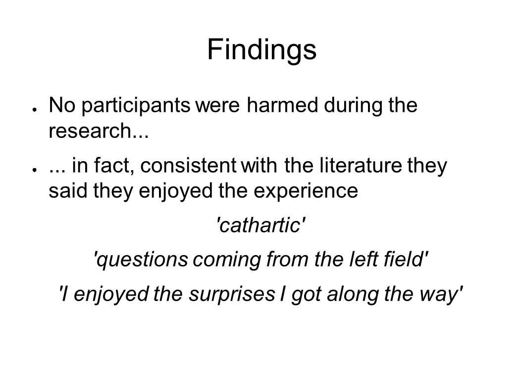 Findings No participants were harmed during the research...