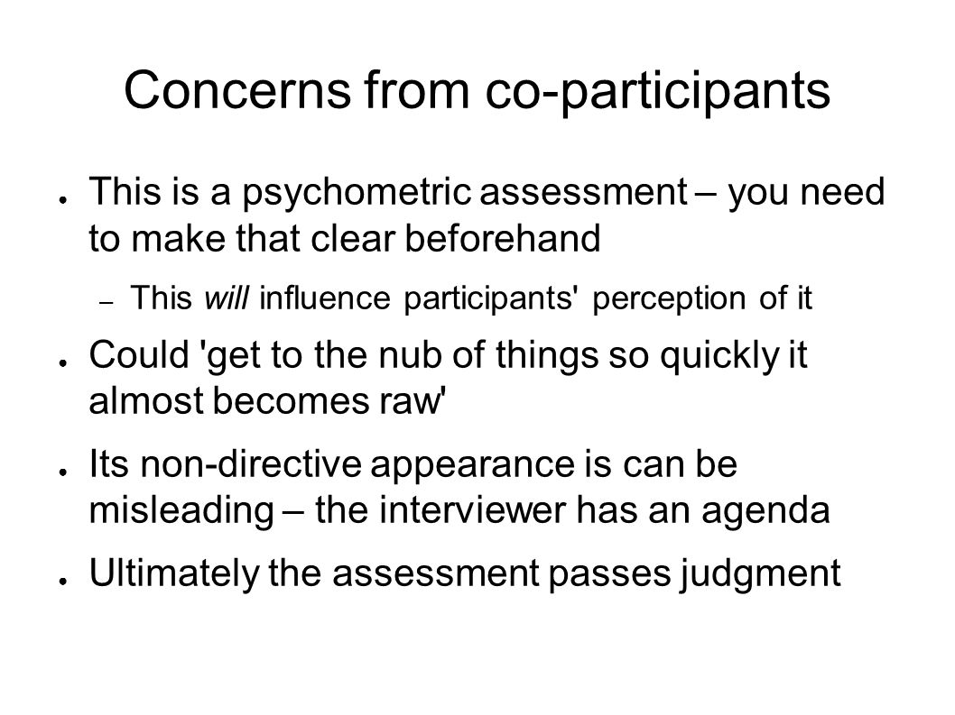 Concerns from co-participants