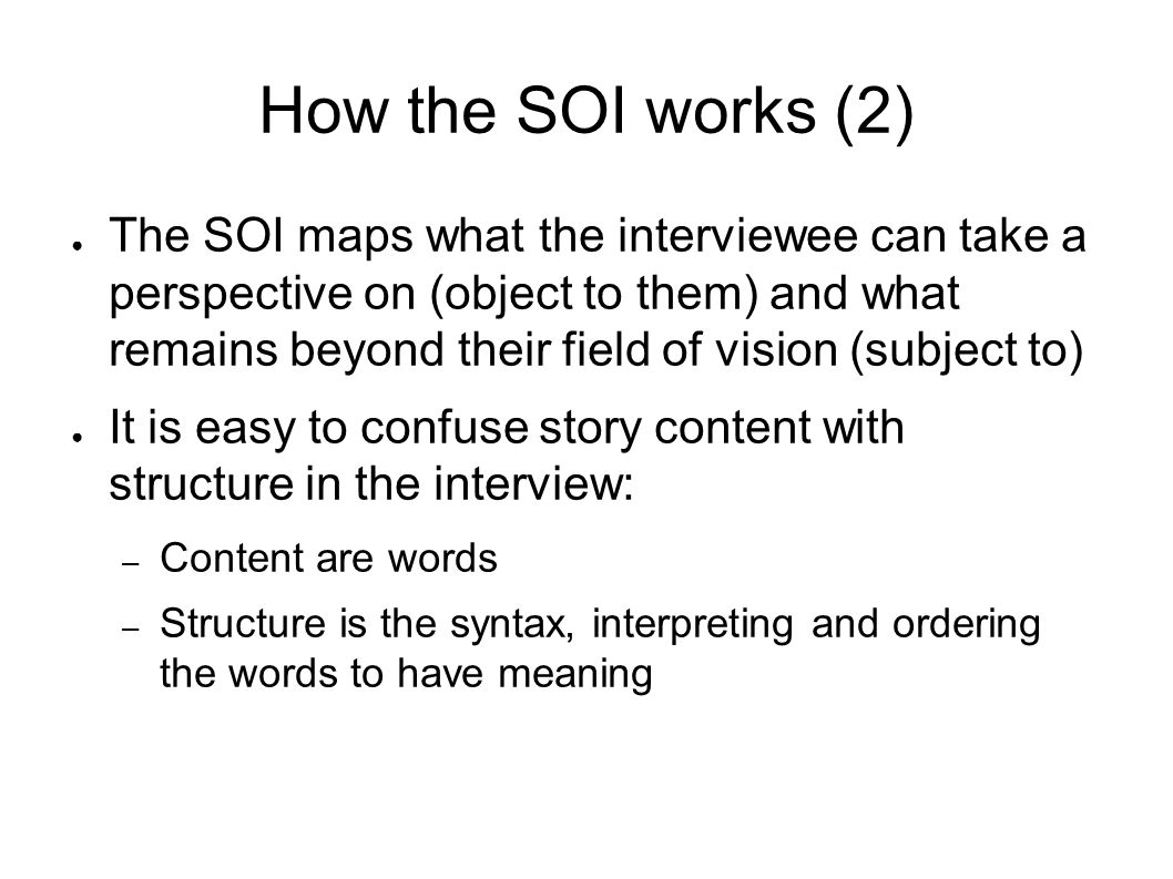How the SOI works (2)