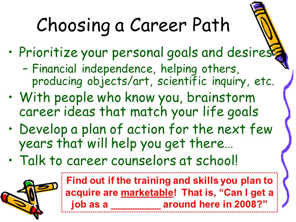 Choosing a Career Path Prioritize your personal goals and desires: