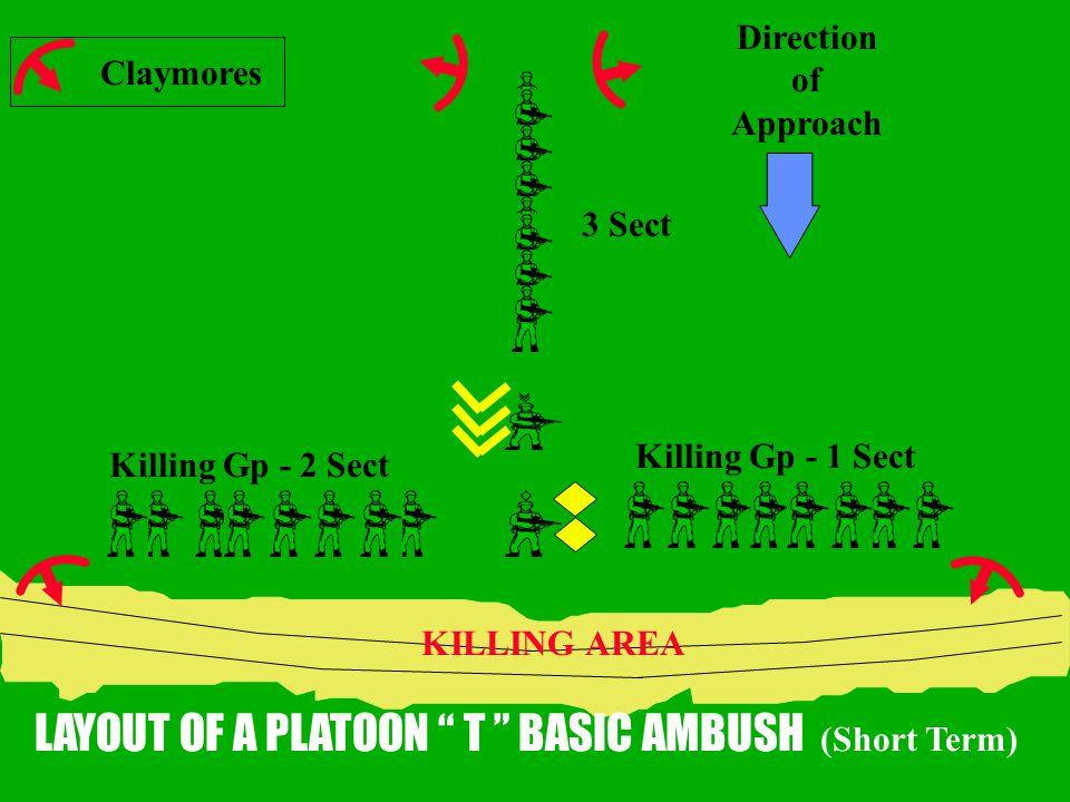 LAYOUT OF A PLATOON T BASIC AMBUSH (Short Term)