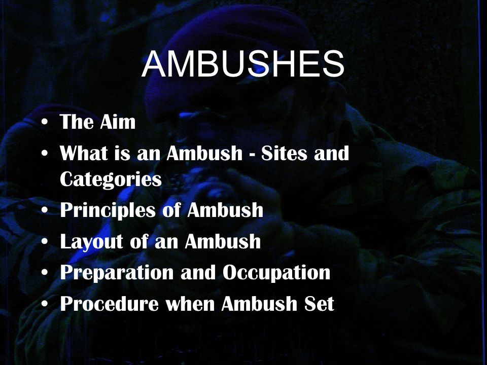 AMBUSHES The Aim What is an Ambush - Sites and Categories