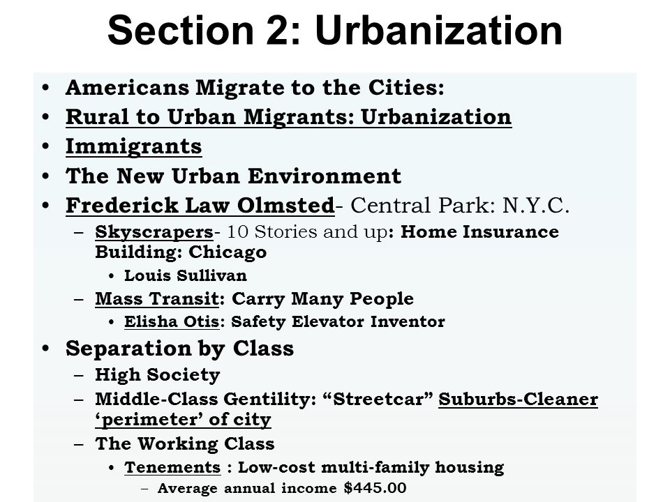 Section 2: Urbanization