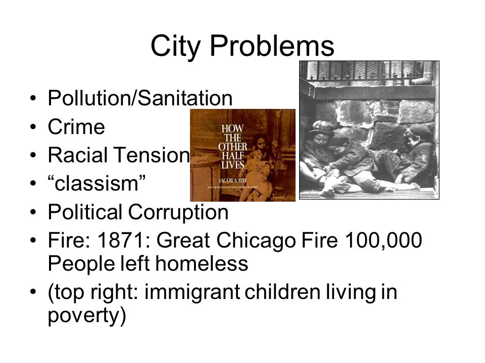 City Problems Pollution/Sanitation Crime Racial Tension classism