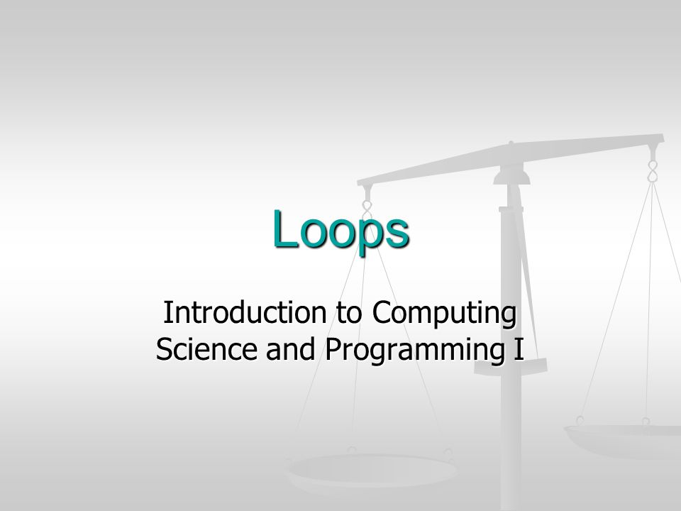 Introduction to Computing Science and Programming I