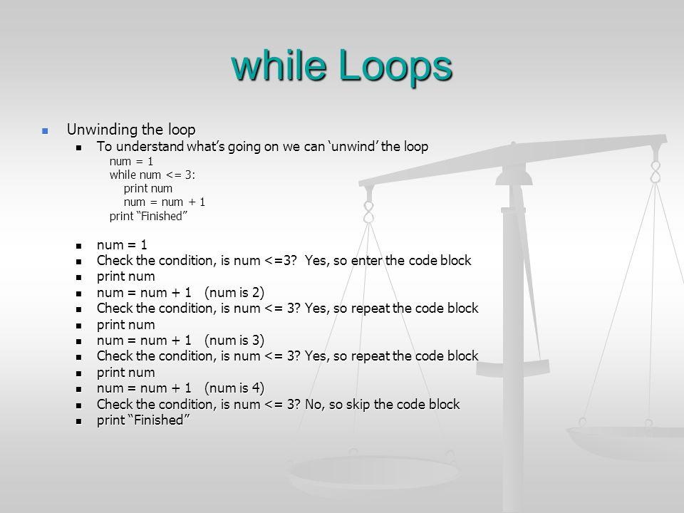 while Loops Unwinding the loop