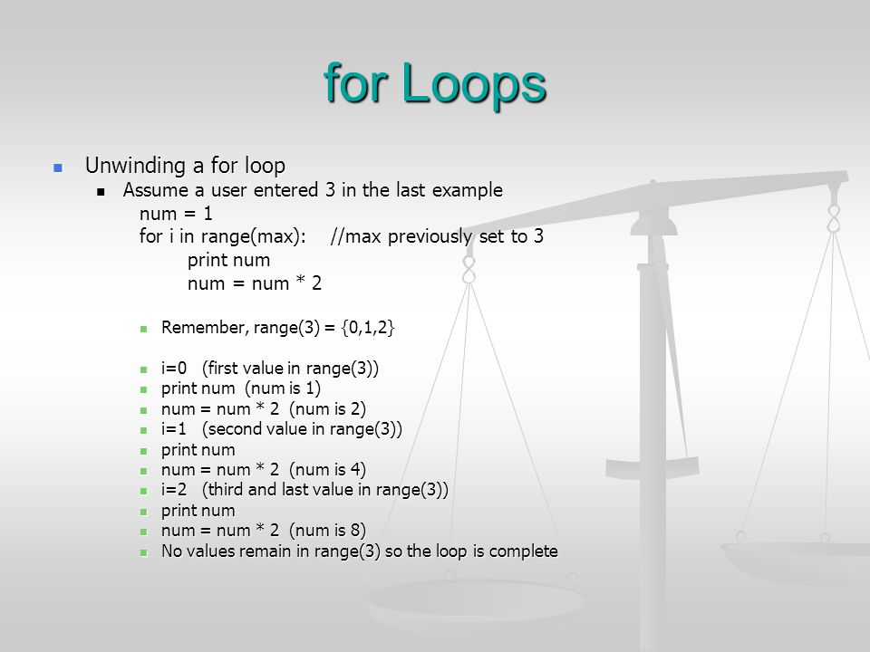 for Loops Unwinding a for loop