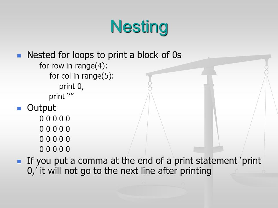 Nesting Nested for loops to print a block of 0s Output
