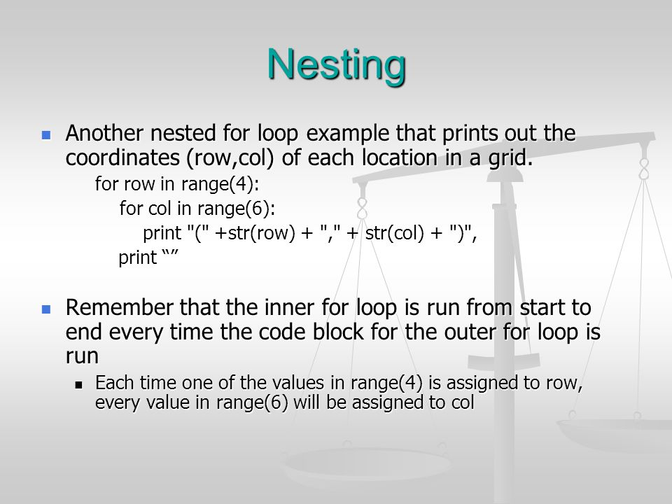 Nesting Another nested for loop example that prints out the coordinates (row,col) of each location in a grid.