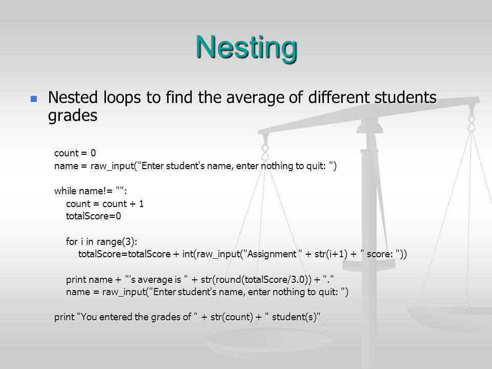 Nesting Nested loops to find the average of different students grades