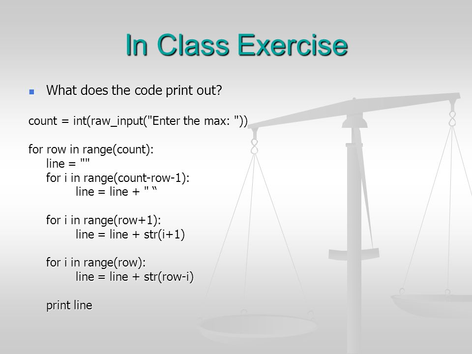 In Class Exercise What does the code print out