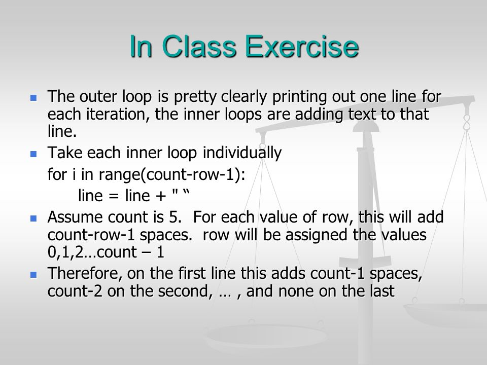 In Class Exercise The outer loop is pretty clearly printing out one line for each iteration, the inner loops are adding text to that line.