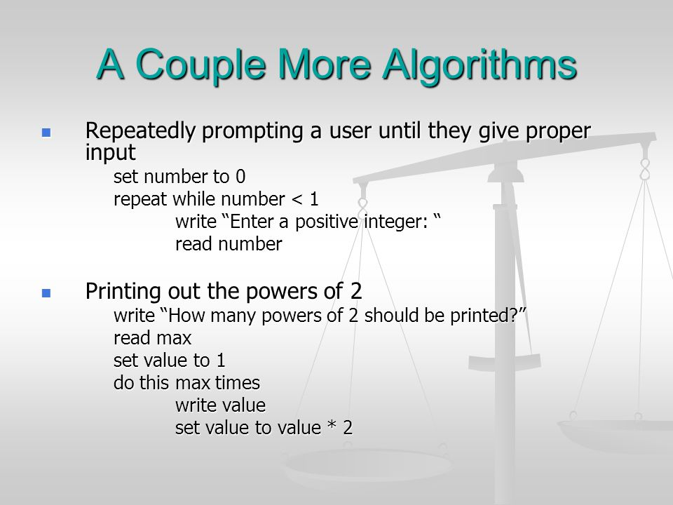 A Couple More Algorithms